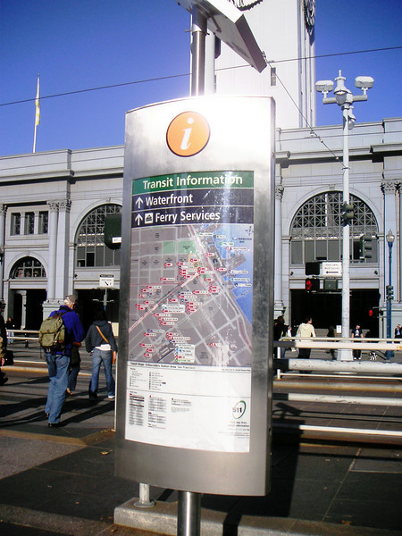 "High quality signs, complete with large scale maps, provide pertinent  information to visitors.  The <a href=""http://www.ferrybuildingmarketplace.com/"">Ferry Building</a>, built in 1898, has survived two major earthquakes and is listed in the National Register of Historic Places. Though it is now a major inter-modal transportation center and mixed-use complex, it has not always been so. Until the opening of the Bay and Golden Gate Bridges in 1936 and 1937, respectively, the Ferry Building was the focal point of ferry and rail transportation. When auto travel became the dominant mode for traveling across the Bay, the Ferry Building became obsolete and was transformed into primarily office use. To make matters worse, the elevated Embarcadero Freeway was built directly in front of the building in 1957 cutting the building off from the rest of downtown. The 1989 Loma Prieta Earthquake instigated the redevelopment of the Embarcadero and the Ferry Building when it destroyed part of the elevated freeway.    Two TE awards, procured in 1995 and 1998, were used to complete the Ferry Building Rehabilitation project. In total, State TE funding amounted to $2 million and generated a total local match of $2,201,000. Today, visitors and commuters from East Bay and Marin County can connect to downtown San Francisco via passenger ferries, light rail, the subway system, historic streetcars, cable cars, and buses. In addition, the Ferry Building is now truly mixed-use with retail shops, restaurants, food markets, conference center, and office space fill its historic space."