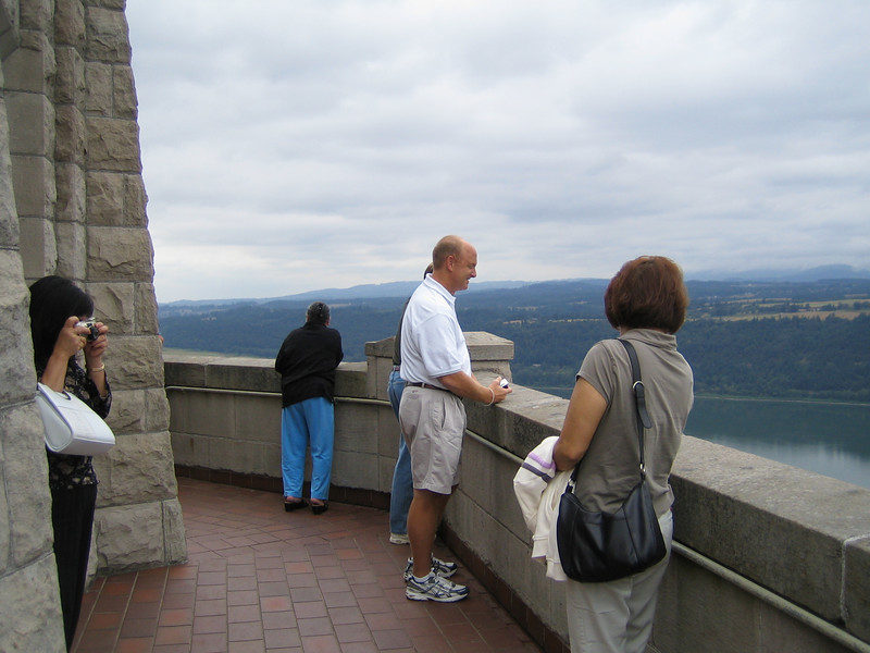 Sitting on a 733 foot promontory above the Columbia River, the Vista House is a landmark of history, architecture and scenic beauty. It was originally built in 1916 after the dedication of the Columbia River Highway as a rest stop along the scenic route. Both the highway and the house are within a National Historic District and are a National Landmark. The Vista House at Crown Point was recently restored with the help of Transportation Enhancements, National Scenic Byways Program, and Federal Lands Highway Program awards. <br /> <br /> Both the interior and the exterior underwent major renovations to restore the original house. The inside of the dome was painted to simulate the marble and bronze originally planned for the structure. Green opalized glass was installed in some windows and others were made clear for viewing. A new glazed green tile roof was installed over a protective dome membrane. Handicap-accessible features were added, including a one of a kind elevator. Federal Award: $545,000.00; Local Match: $473,000; Total: $1,018,000