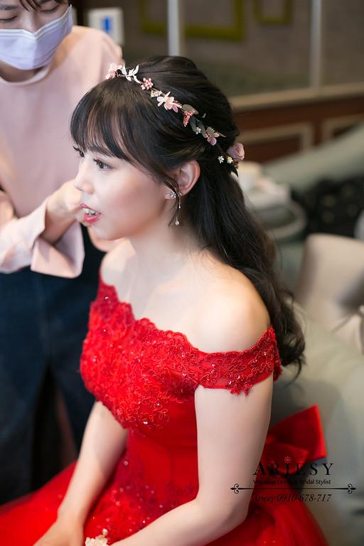 黑髮新娘秘書,台北新秘,ariesy,送客新娘造型,紅色禮服造型,維多麗亞酒店婚宴