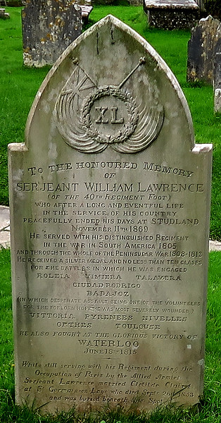 In Studland Church cemetery is the grave of Sgt William Lawrence who surely must have been the basis for the Sharpe series of novels by Bernard Cornwell