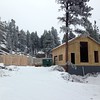 Thanksgiving Day.  Front entry framing underway. Snowing AGAIN!