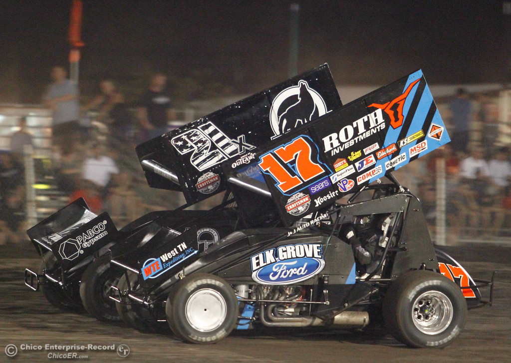 ". Jac Haudenschild (17) ""The Wild Child\""  next to Carson Macedo (21x) on the final night of the 64th annual Gold Cup Race of Champions Saturday September 9, 2017 at the Silver Dollar Speedway in Chico, California. (Emily Bertolino -- Enterprise-Record)"