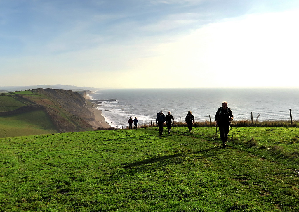 Walking along The Monarch's Way/South West Coast Path towards Thorncombe Beacon