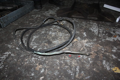 Main battery cable has been badly overheated by a major short circuit. This has damaged almost all the other cable looms