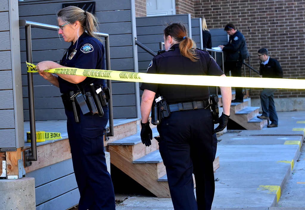 . Police officers close off the scene at 690 Manhattan Drive in Boulder on Wednesday morning.  For more photos of the scene go to www.dailycamera.com Paul Aiken Staff Photographer Feb 15 2017