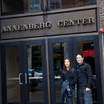 Rae and Adam outside the Annenberg Center at UPenn.