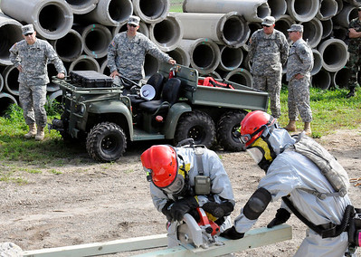 Texas Adjutant General Maj. Gen. Mayorga oversees the 836th Engineer company as they build supports during the 6th CERFP EXEVAL.