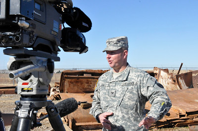 In this image released by the Texas Military Forces, Billy Dry, of Fox 25, interviews Col. William Hall, Joint Task Force 71 commander, during a visit to the 836th Engineer Company training site in Oklahoma City, Okla., Saturday, Jan. 29, 2011. Soldiers from the unit, the headquartered in Kingsville, Texas, were there participating in a collapsed structure extraction exercise. Along with other units in JTF71, the 836th periodically participates in such training to maximize interoperability when activated to augment civilian public safety entities. (Photo/100th Mobile Public Affairs Detachment, Army National Guard Sgt. Melissa Bright)