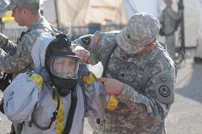 Joint Task Force 71 (Maneuver Enhancement Brigade) Soldiers and Airmen worked with central Texas civilian first responders decontaminating victims of a simulated chemical attack.