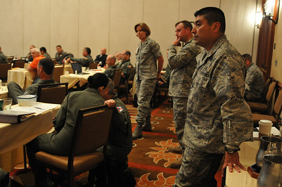 In this image released by the Texas Military Forces, representatives from the TXMF explain how the Air National Guard fits into the newly formed Texas Homeland Response Force to State Air Surgeons at the Air NG Readiness Frontiers 2011 Conference, Friday, June 24, 2011, in San Antonio Texas.  The two-week conference provided diverse, focused training in disaster/critical care management. It also was the perfect opportunity for members of the Texas Military Forces to meet and interact with key leaders and organization leaders in a non-emergency setting. Speakers from the TXMF included Col. Garry Moore, State Air Surgeon for Texas, Lt. Col. Daniel Quick, 6th CERFP commander and Col. Connie McNabb, Joint Forces Headquarters. The CERFP encompasses units capable of managing chemical, biological, radiological and nuclear events and includes a medical element from the Air National Guard. (Photo/Joint Task Force 71, Army National Guard Staff Sgt. Melissa Bright)