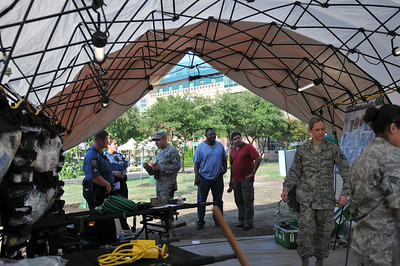In this image released by the Texas Military Forces, Soldiers with Joint Task Force 71 participated in a career fair at the University of Texas, San Antonio campus July 7, 2011. The event teamed the Baptist Child Family Services, the campus community, local business and military organizations to showcase possible future career paths for at-risk area teens.  Representatives were on hand from the 836th Engineers, 436th Chemical Company and a medical group from the Air National Guard. Events like these bring opportunities for response units to get out in the communities and meet the people they serve as the Homeland Response Force for FEMA Region VI. (Photo/Joint Task Force 71, Army National Guard Staff Sgt. Melissa Bright)