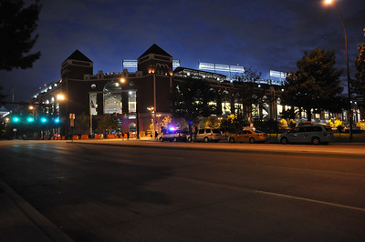 In this image released by the Texas Military Forces, Soldiers and Airmen with the National Guard's 6th Civil Support Team provide area monitoring and other support at a World Series baseball game in Arlington, Texas, Saturday, Oct. 22, 2011. The Austin-based unit was deployed to North Texas at the request of civilian emergency management officials to help augment the overall public safety effort for the event. The CST's training and equipment help authorities detect and prevent dangerous substances from being introduced into large crowds.  (Photo/Joint Task Force 71 Public Information section, Army National Guard Maj. Adam Collett)