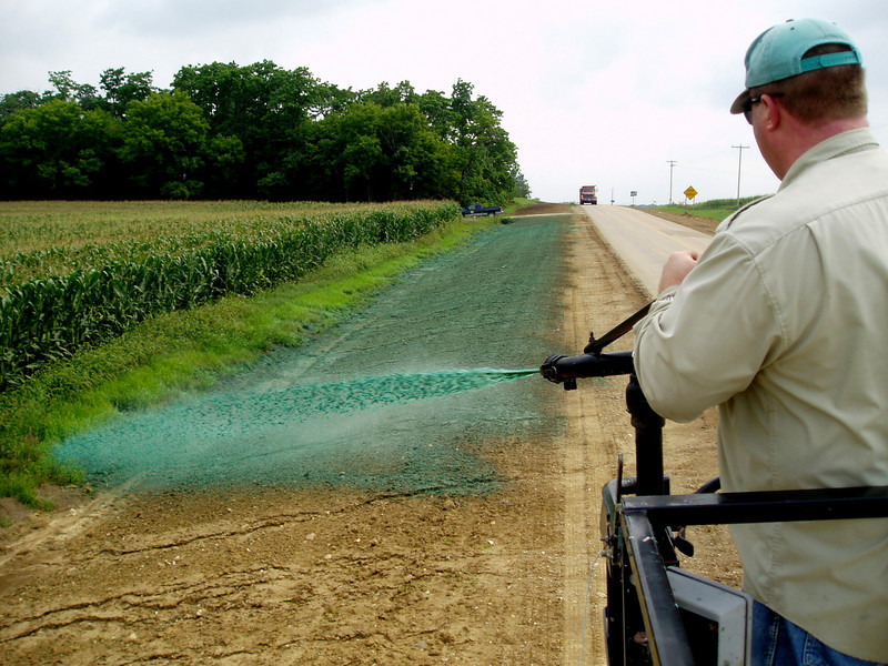 Much of Iowa's TA-funded native seed is used to vegetate areas along road construction projects. The seed is often applied with a hydroseeder: an effective way to vegetate rights-of-way where steep slopes, obstructions, and wet soil prevent the use of other equipment. <br /> <br /> Iowa's Integrated Roadside Vegetation Management (IRVM) Program Office has been awarded FHWA funding to purchase native prairie seed for use in county rights-of-way since 1998. Approximately 1000 roadside acres have been planted each year. These plantings are well-adapted for use on roadsides, providing weed and erosion control, storm water management, and habitat corridors. The IRVM Program Office is located at the University of Northern Iowa's Tallgrass Prairie Center.