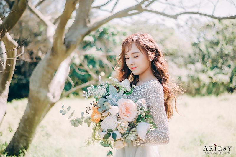 禮服出租,新莊自助婚紗,手工婚紗,婚紗包套,灰綠色素紗禮服,長袖珠鑽禮服