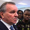 Mayor Daley press conference at Jenner Elementary. Student Deral Willis watches. (Photo: Kevin O'Dowd)
