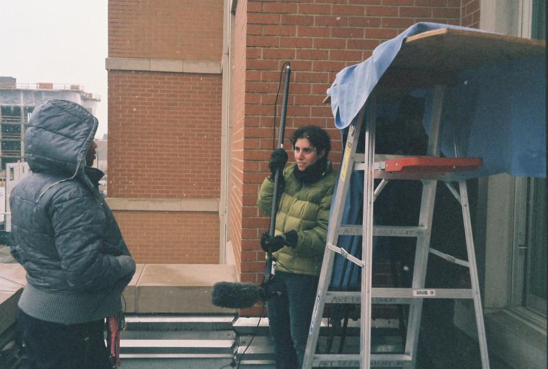 Director Ronit Bezalel interviewing Jenner Elementary Student Janae Durr (photo: Brenda Schumacher)