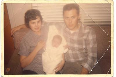 1961 JoAnn & Jack with Jackie at 2 Weeks Old
