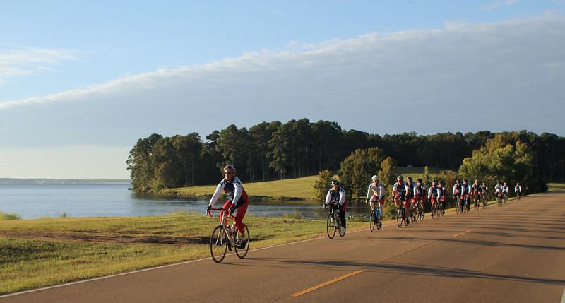 Jackson, Mississippi Day 2- group rides past Ross Barnett Reservoir