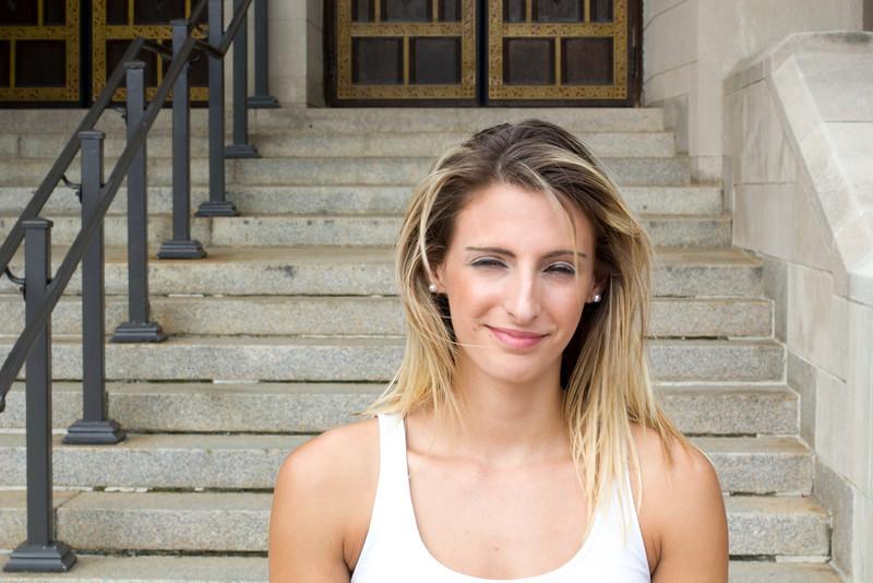 Christina Lob, a student at Boston University poses outside of Marsh Chapel on September 6th, 2014.