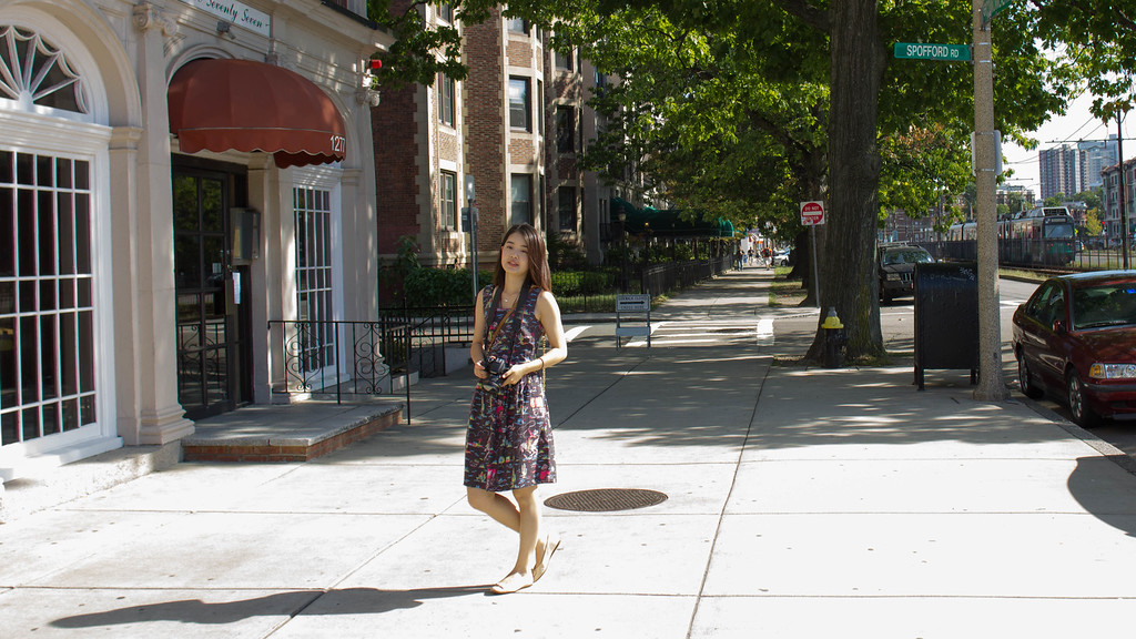 "Qifan ""Daisy"" Wang explores her new neighborhood in Allston, Massachutsetts. Wang moved to the United States from China just two weeks ago."