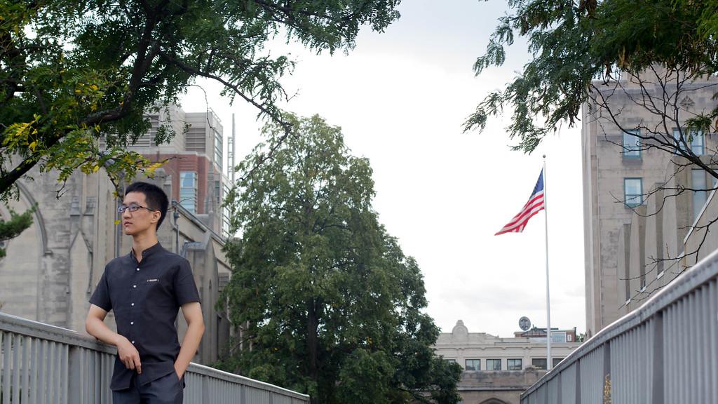 BOSTON: BU graduate student Learner Liu stands on a footbridge near the Charles River on Boston University campus, Wednesday. Sept. 14 2016.