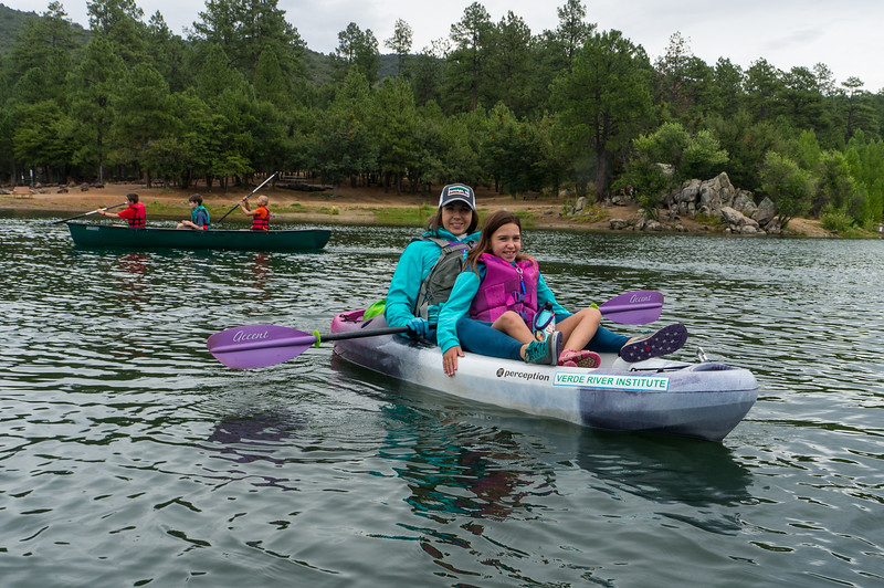 Kim Lipsky, Camp Nurse for Camp Aloma kids, and Madison Lipsky on Goldwater Lake, 7/24/19