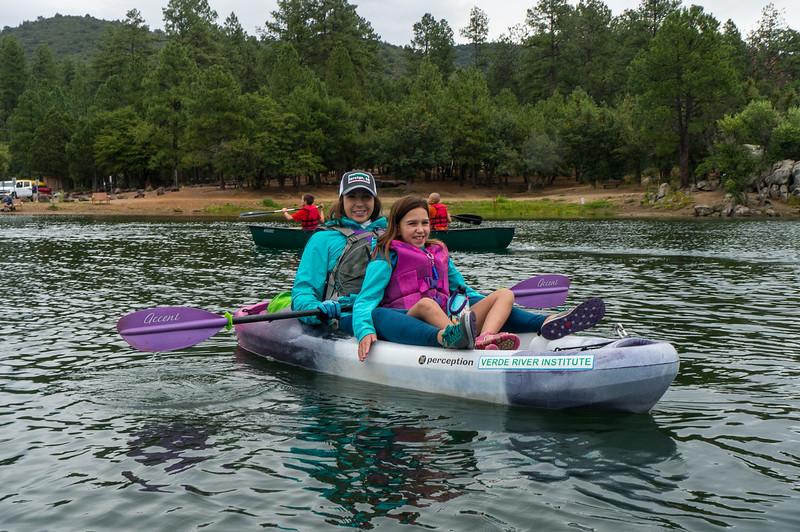 Kim Lipsky, Camp Nurse for Camp Aloma kids, and Madison Lipsky on Goldwater Lake, 7/24/19