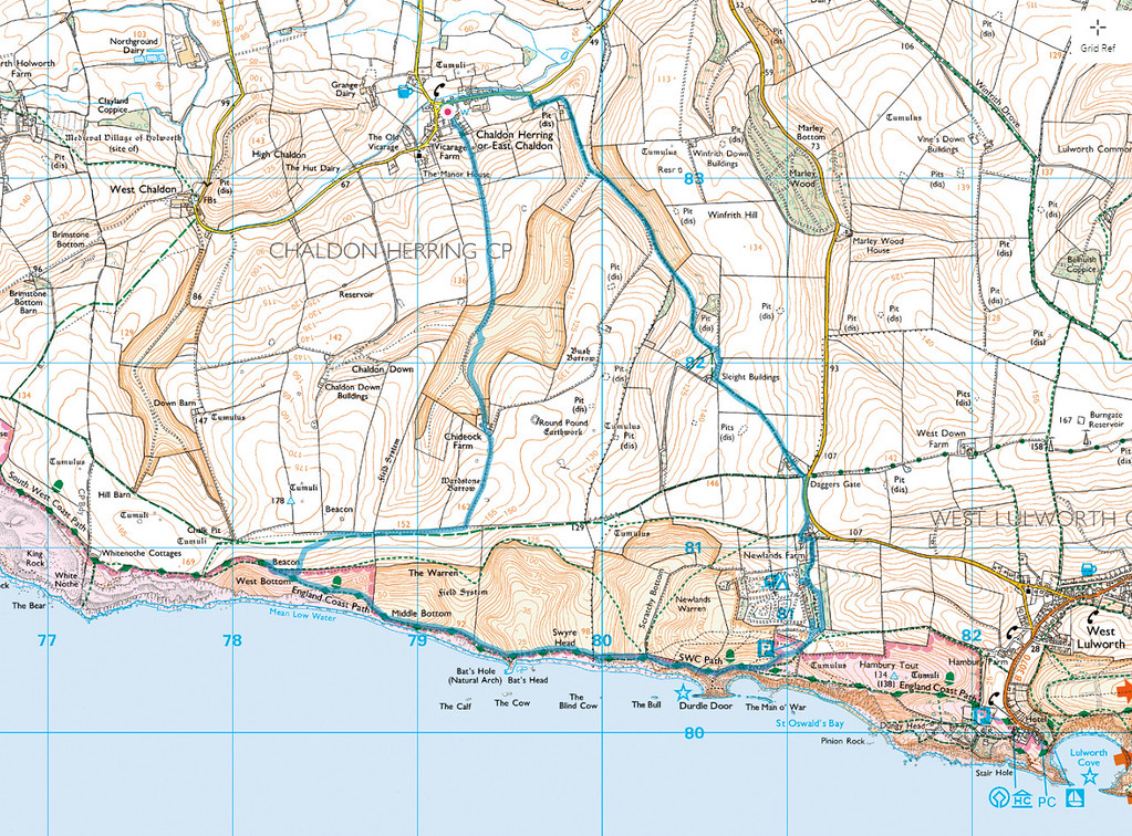 The route of the walk shown in blue - we went anticlockwise