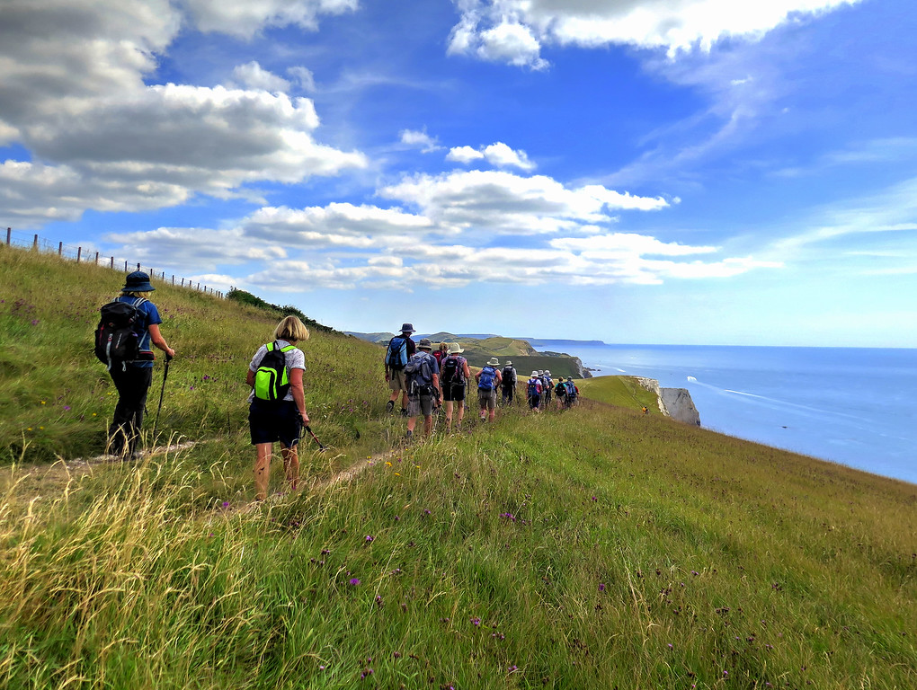 After coffee at the navigation beacon we moved off towards the East along the coast path to Durdle Door