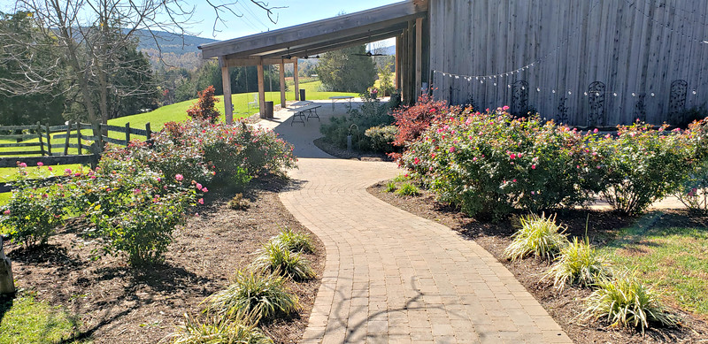 Extensive walkways, patios, and landscaping
