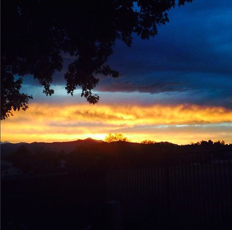 Fiery sunset view from the yard