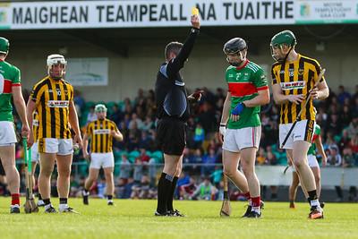 Fergal Horgan gives an yellow card to Loughmore Castleineys Lorcan Egan