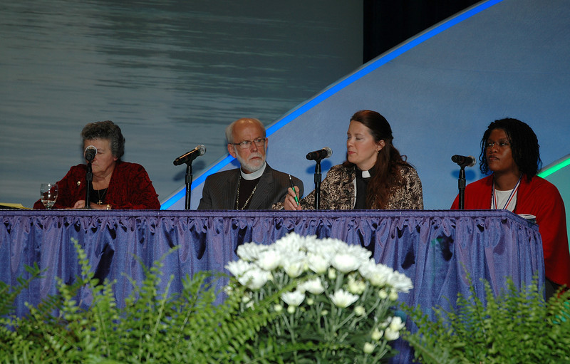 Sister Joan Chittister, O.S.B., the Rev. Mark Hanson, Presiding Bishop of the ELCA, the Rev. Judith VanOsdol-Hanson, and Shannon Ligon participate in the panel discussion after the keynote address by Chittister.