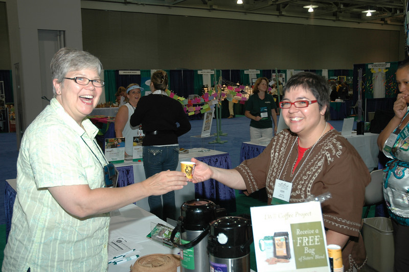 Kristin Koskinen enjoys a smaple of Fair Exchange Coffee from Hope of Lutheran World Relief.