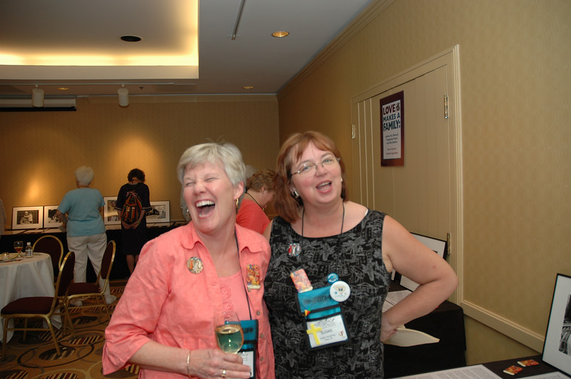 New president Beth Wrenn and Susan Humphrey share a laugh at the Lutherans Concerned/North America Mix and Mingle.