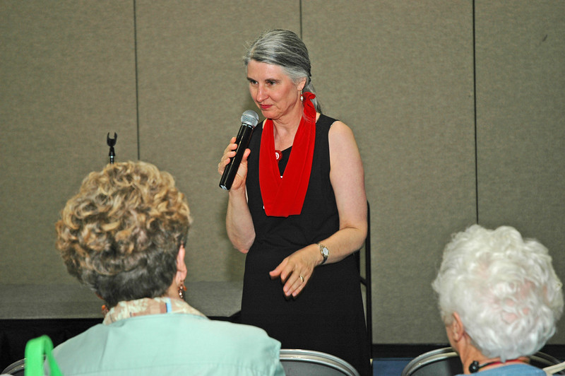 "Elizabeth Burlew shares with Women of the ELCA her topic, ""Go Red for Women,"" at The Landing."