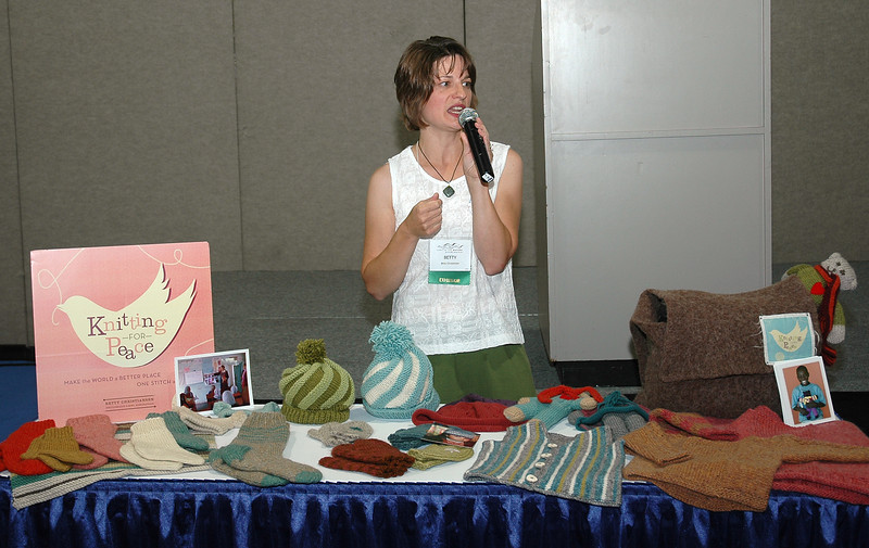 """Knitting for Peace Trunk Show"" was the name of the presentation of Betty Christiansen, at The Landing, an open forum in the Exhibit Hall."