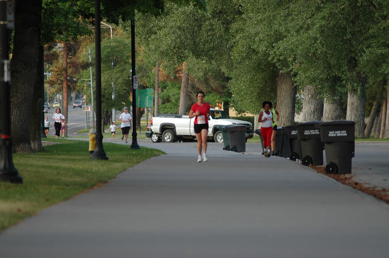 The leading runners pull away from the group.
