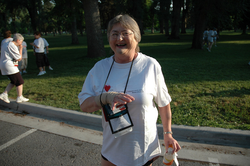 Joyce Shuck is happy to finish the race!