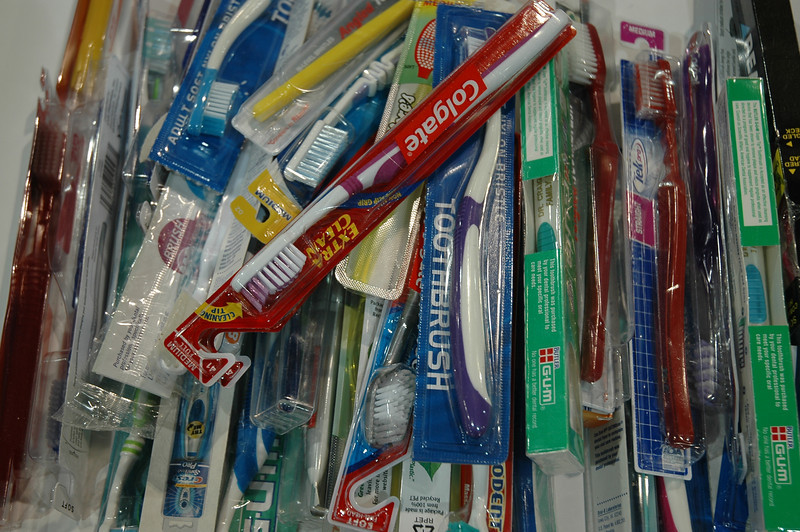 Toothbrushes for health kits.