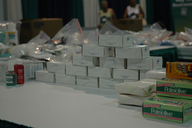 Bars of soap ready to be packed into health kits.