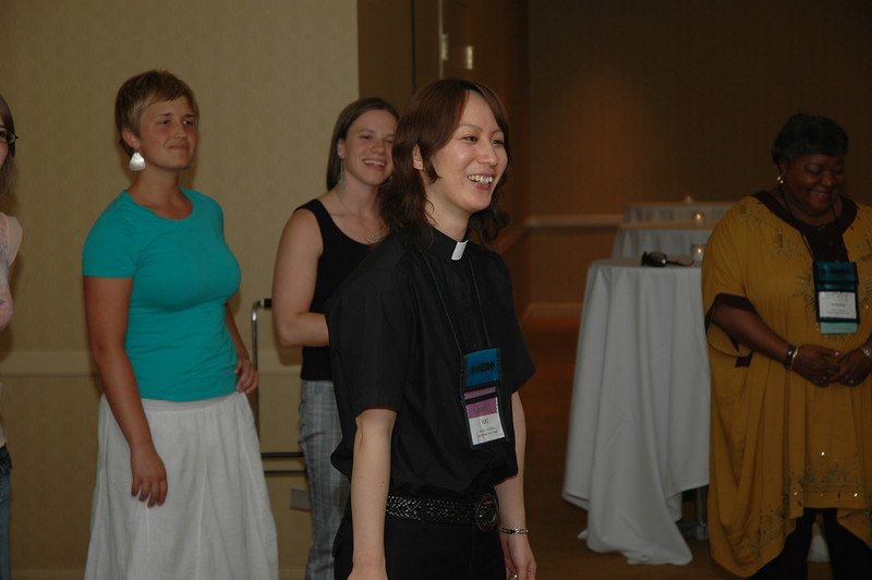The Rev. Yuki Gotoh of the Japan Lutheran Church joins the party at the Chocolate Lounge.
