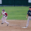 Wachusett Dirt Dawgs Joe Jumonville steals second safely during the game against the Worcester Bravehearts on Thursday, August 3, 2017. SENTINEL & ENTERPRISE / Ashley Green