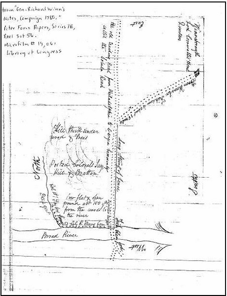 """This hand-drawn map by Colonel Richard Winn of General Sumter's forces was the key to rediscovering the battlefield's true location.  South Carolina Route 72 crosses the Broad River on a bridge near the Sumter National Forest.  For travelers in the area, this is a critical piece of infrastructure because it is the only crossing available for 30 miles.  In the early 2000s, the bridge was deemed functionally deficient, and a new site was chosen for a replacement bridge.  Since the project was funded in part through federal highway funds, the action was subject to <a href=""""http://www.state.sc.us/scdah/hpsection106review.htm"""">Section 106 of the National Historic Preservation Act of 1966</a>, which requires review for impacts on historic properties and resolution to mitigate any adverse effects.  As part of this review, a Revolutionary War battlefield previously believed destroyed by a quarrying operation was rediscovered. Typically, the Section 106 process would require archaeological excavation of the 30 acres of the 275 acre battlefield that were affected by the project. However, this would have left the remaining majority of the battlefield unexplored and unprotected, while raising the cost of the bridge replacement astronomically. Thus, Transportation Enhancement funds were used to acquire the entire battlefield instead, and the bridge was designed to cross adjacent to the newly protected area. The key partner that enabled this alternative mitigation was the South Carolina Department of Natural Resources, who agreed to manage the site post-acquisition."""