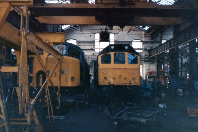 Left 45 013 right 25 176 <br /> <br /> Derby Works <br /> <br /> 21st Jan 84