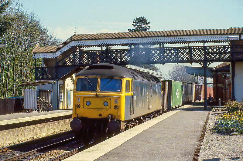 15th Apr 1981:  On the Down Relief through Taplow is 47456 heading a west bound Freightliner.