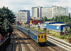 3rde Jul 81:  1107 is the leading Class 201 DMU on the combined 08.57 from Uckfield and the 09.24 from East Griinstead pictured leaving East Croydon