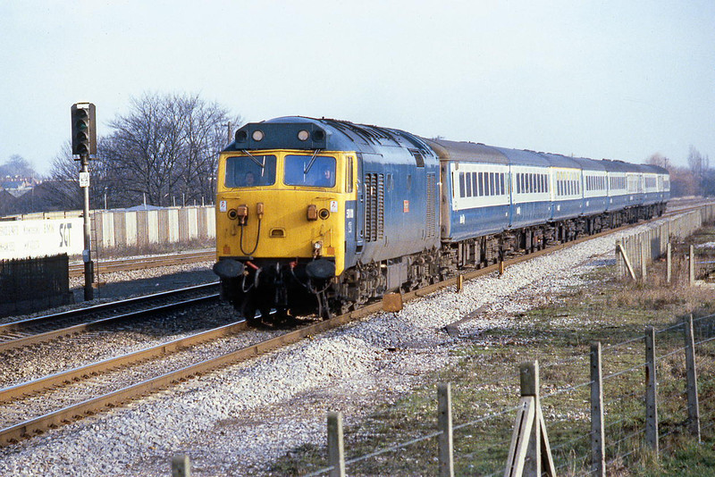 20th Jan 81:  On the fast at Taplow is 50011 heading the 12.15 to Swansea