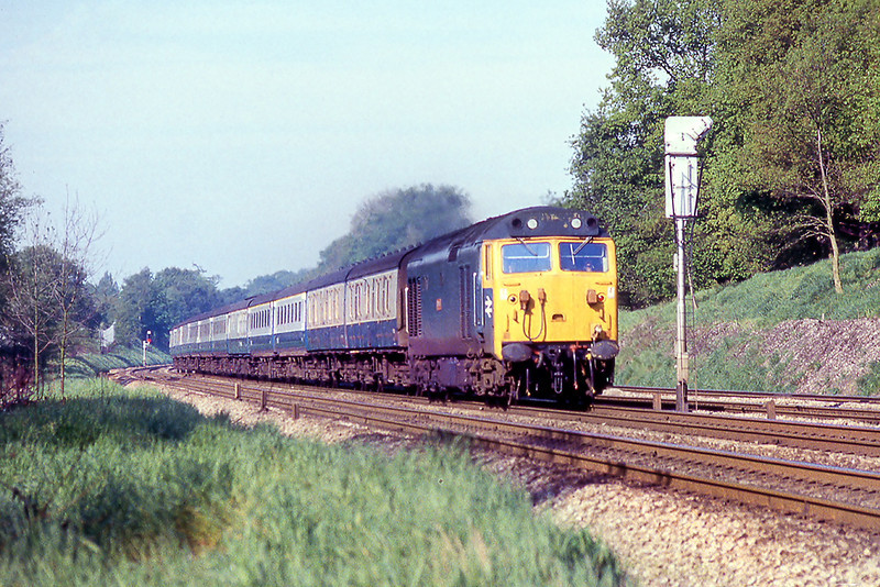 15th May 81:  the 07.20 from Cardiff  to Paddington exits the sonniing Cuttibg with 50030 'Repulse' at the point
