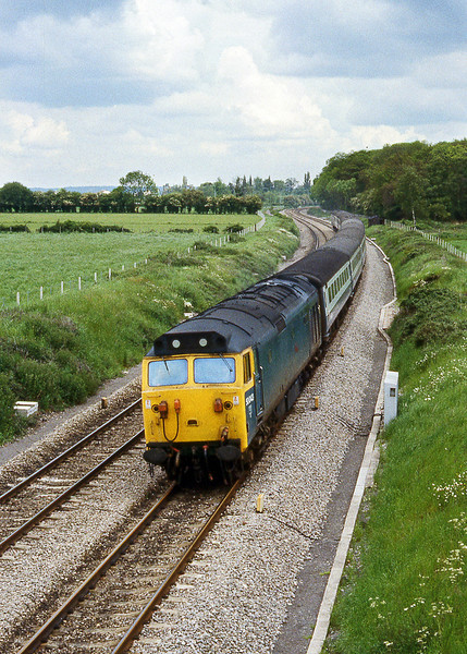 22nd May 81:  Nearing Woolhampton is 50043 Eagle and the 13.35 Paddington to Plymouth